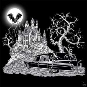 GOTHIC GIRL VAMPIRE CASTLE BAT HEARSE SKULL T SHIRT 119