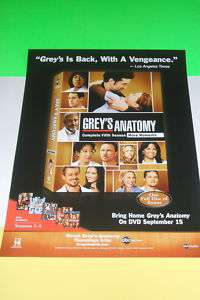 RARE Promo Poster for Greys Anatomy Fifth Season DVD