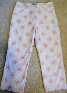 Tori Richard Honolulu Capri White Cropped Pants Pink Embroidered