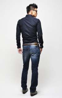 Mens Fashion Casual Cotton Shirt Long Sleeved Slim 3 Color 4 Size