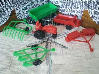 Arts Co Rolling Acres Farm Tractor & 5 Implements Toys Vintage 1950s