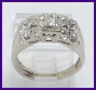 10k White Gold Antique 2 Piece Round Diamond Wedding Ring Set .26ct