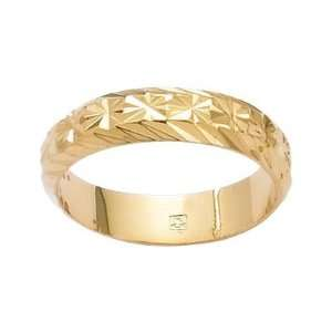 18K Gold Plated Engraved Wedding Band Ring   Size 8 Jewelry