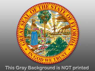 Round Florida State Seal Sticker  decal logo FL God US