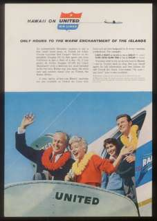 1959 United Airlines Hawaii stewardess plane photo ad