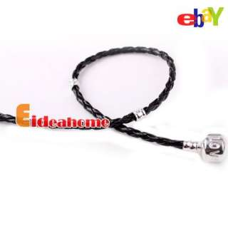 4x BLACK LEATHER BRAIDED LOVE CHARM BRACELET FOR BEADS 21CM 152166 HOT