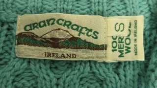 Aran Crafts merino wool Cable Irish Fisherman 1/4 zip Sweater womens