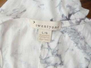 21 White Gray TIE DYE Long Maxi Knit Dress Racer Back BOHO Sz L