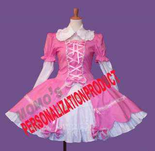 Sweet gothic lolita stunning white lace Cosplay Knee Length pink/black