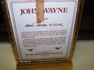 COWBOY WESTERN JOHN WAYNE DECANTER KENTUCKY BOURBON WHISKEY ART BOTTLE