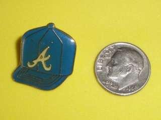 Atlanta Braves Hat Vtg 1980s Enamel Metal Pin Cap Baseball Pinback Old