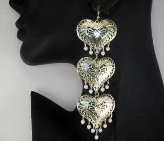 Pretty gold tone long filigree triple heart drop earrings 12cm