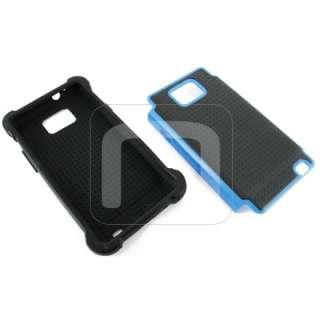 II i777 i9100 TRIPLE LAYER BLACK / BLUE HARD SOFT CASE COVER