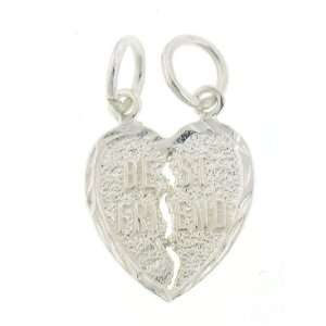 Silver 20 Box Chain Necklace with Charm Best Friend Break Away Heart