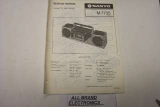 SANYO M7735 PORTABLE STEREO CASSETTE RECORDER SERVICE MANUAL H/C
