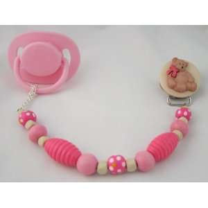 Baby Pink Wooden Teddy Bear Pacifier Clip Baby