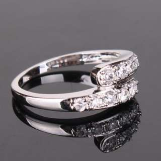 Classic 18K white gold filled swarovski crystal double band wedding