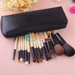 Woman Travel Makeup Cosmetic 15Pcs Brushes Set Tool Pouch Case Bag Kit