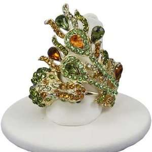 Green & Yellow Phoenix Ring ~ Stretch Band, ONE SIZE