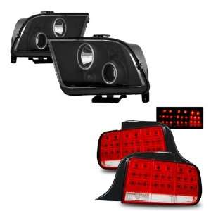 05 09 Ford Mustang Black CCFL Halo Projector Headlights