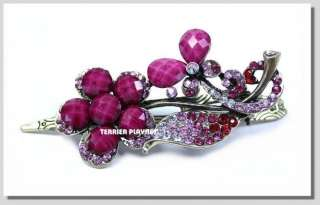 TPS Fashion Red & Pink & White Flower Crystal Hair Pin Clip K15