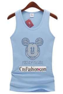 c43 Chic New Womens Azure Blue Mickey Mouse Fit T Shirts Tank Top