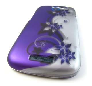 PURPLE SILVER CURVES Hard Shell Case Cover HTC One S Tmobile Phone
