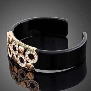 18K rose gold GP swarovski crystal Plastic bangle cuff B29