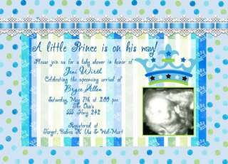 New Little Prince, Lime & Turquoise Baby Shower Invitations