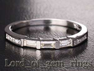 Baguette/Princess Cut DIAMOND 14K White GOLD Channel Invisible WEDDING