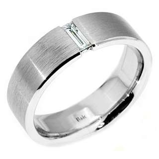 BAGUETTE CUT DIAMOND RING WEDDING BAND 14KT WHITE GOLD