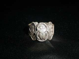 925 Solid Sterling Silver Egyptian Scarab Ring sz 9 **NEW**
