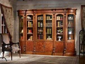 Warm Brown Rococo Bookcase Wall Unit