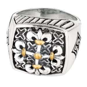 Phillip Gavriel 18K Gold & Silver Byzantine Filigree Cross Design Ring
