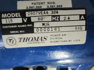 Thomas Power Air Division Dental Vacuum Pump Model 2607VE44 334