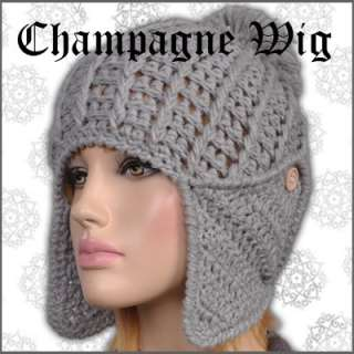 Khaki Openwork Weave Earflaps Womens Beanie Hat Cap Ski Winter Gothic