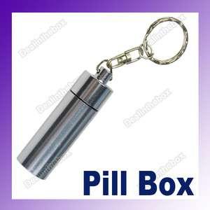 Waterproof Mini Aluminum Pill Box Case Bottle Container Drug Keychain