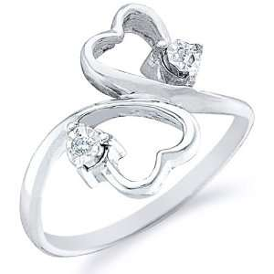Size   9   10k White and Yellow Two 2 Tone Gold Two 2 Heart Shape Love
