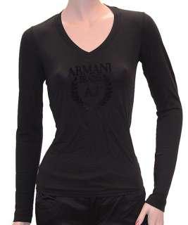 New $205 Armani Jeans Womens Top Blouse Shirt Black Size 42 M NWT 1878
