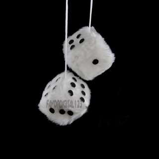 COOL WHITE FUZZY DICE CAR TRUCK TO HANGER YOUR MIRROR