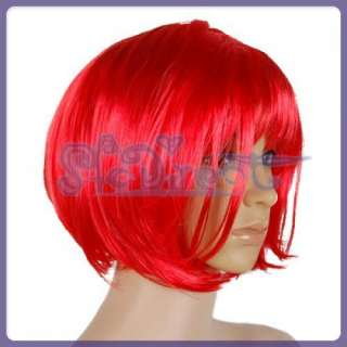 Red Short Straight Bob Hair Cosplay Wig party Punk New