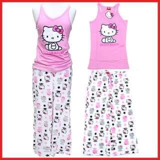 Hello kitty PJ Pink Tank Top & White Capri Pants Set