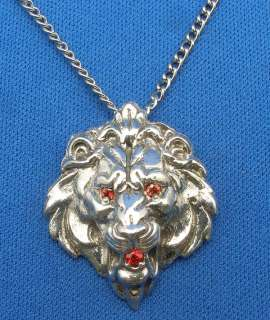 Lion Head Necklace Padparadscha Sapphire Eyes Mouth Hand Crafted