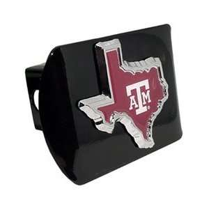 Texas A&M University Aggies (TX shape with color) Black Trailer Hitch