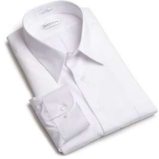 Van Heusen Mens Solid White Dress Shirt Cotton Blend