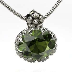 Pendant, Oval Green Tourmaline 18K White Gold Necklace Jewelry