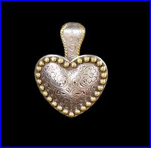 Western Decor Cowgirl Gold Berry Heart Concho Pendant