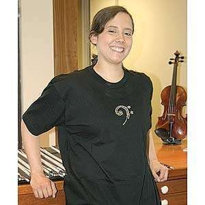 Medium Black T Shirt with Bass Clef Design Musical Instruments