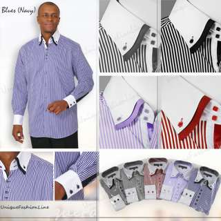 Mens Stylish George Fashion Stripe Dress Shirt All Sizes and 5 Colors