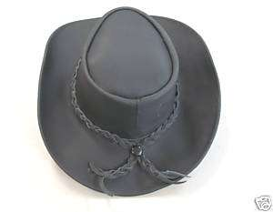 Black Leather Western Cowboy Hat